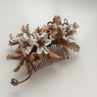 Burnished bronze floral comb