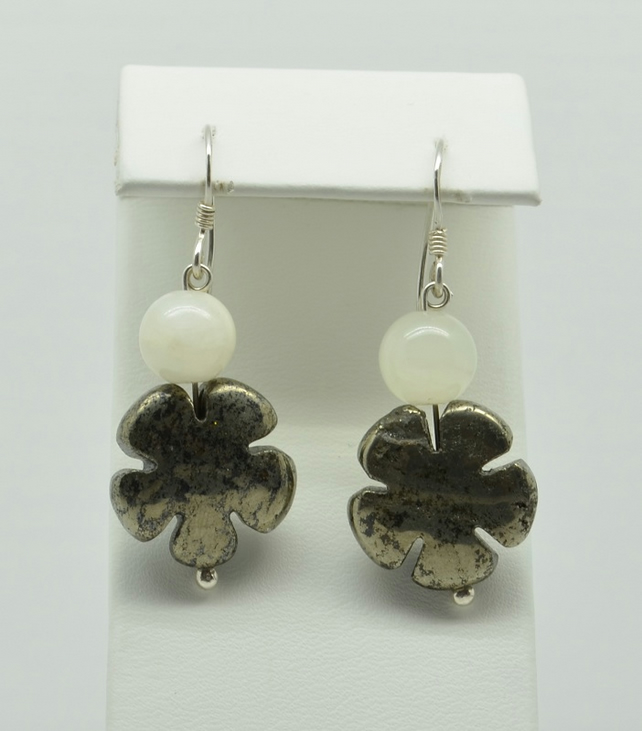 SALE Jade and Pyrite Flower Earrings