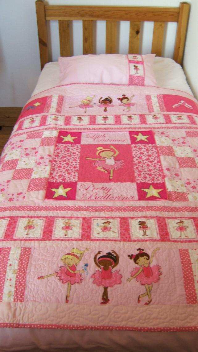 Pink Ballet Dancer Toddler Cot Bed Set, Duvet Cover, Pillowcase & Quilt