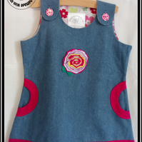 Flower Motif Denim Cotton Tunic Dress with Pockets - Age 3