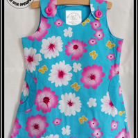 Bright Flower Print Cotton Tunic Dress with Pockets - Age 3 & Age 5