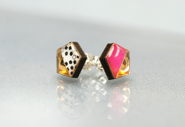 Wood and resin hexagon studs pink and gold