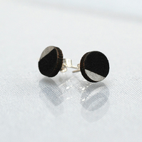 Silver and Black laser cut circle studs