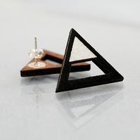 Triangle Statement Studs in black and Silver