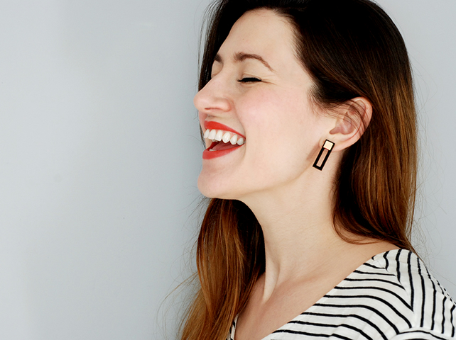 Geometric Black and Gold Rectangle Earrings