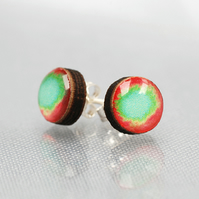 Mini Red and Turquoise resin studs