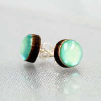 Pretty mint green circle stud earrings