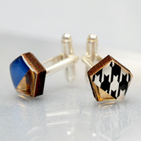 Wood and Resin Cufflinks Blue and Gold