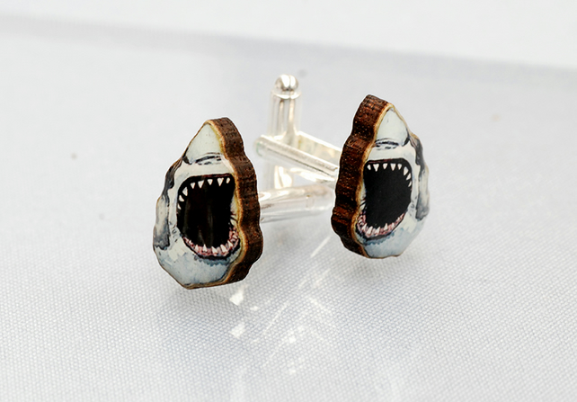 Illustrated Shark Cufflinks