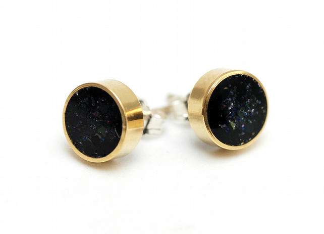 Brass and Resin Glitter Stud Earrings - Inkwell