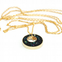 Long Layering Necklace in Brass, Resin and Glitter - Inkwell