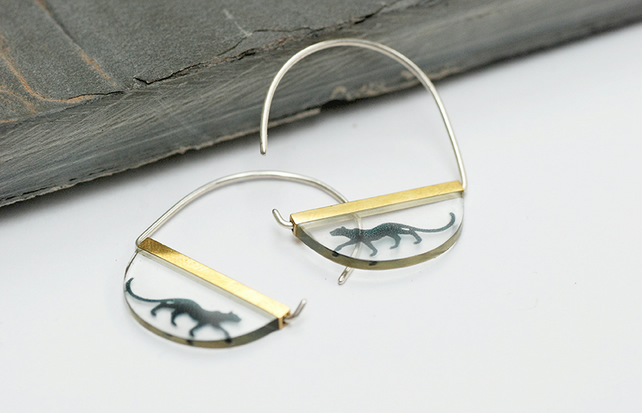 Half Moon Resin and Silver earrings with Bagheera the Panther