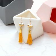 Brass Earrings with Yellow Tassel