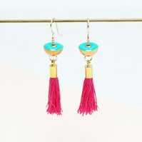 Brass Earrings with Pink Tassels