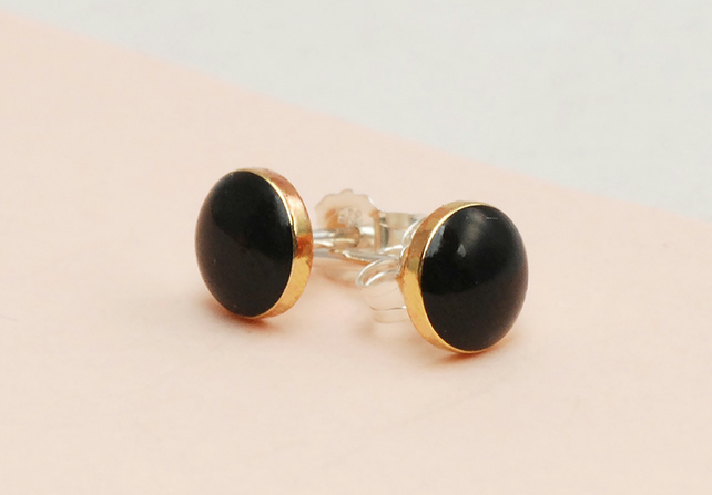 Tiny round Black and Gold stud earrings