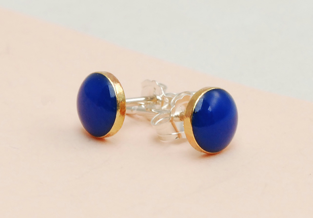 Blue and Gold studs in Brass and Resin