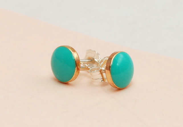 Gorgeous Turquoise and Gold 'Colour Dot' studs