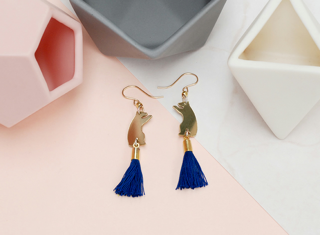 Blue Tassel Earrings with Bear Charm