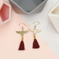 Brass Eagle Drop Earrings with Red Tassels