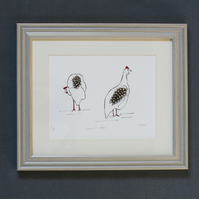 Guinea Fowl framed signed edition print