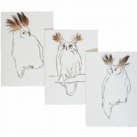 Set of 3 Owl feather cards