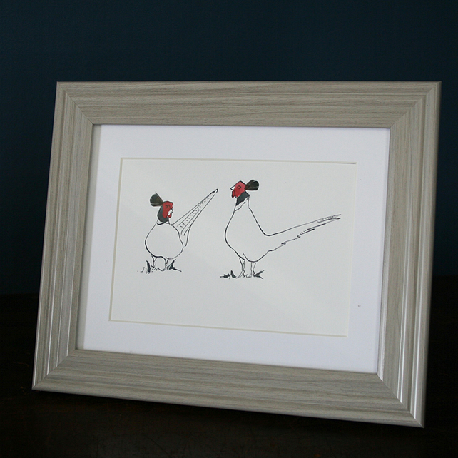 Pheasant Pair Framed Mini print
