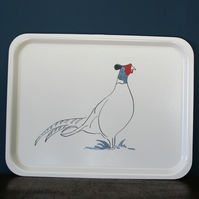 Tray rectangular with Pheasant design
