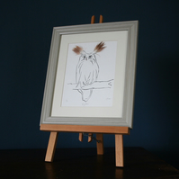 Big Ears Owl Print from Cluck Cluck with real feathers