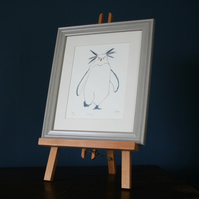 Penguin Rockhopper framed edition print with feathers