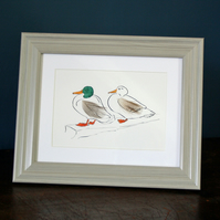Mr and Mrs Duck Mini print with feathers