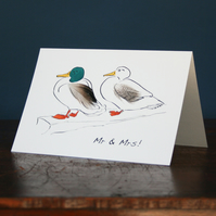 Mr & Mrs Duck card hand finished with feathers
