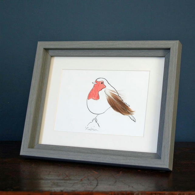 Robin Mini print with feathers from Cluck Cluck!