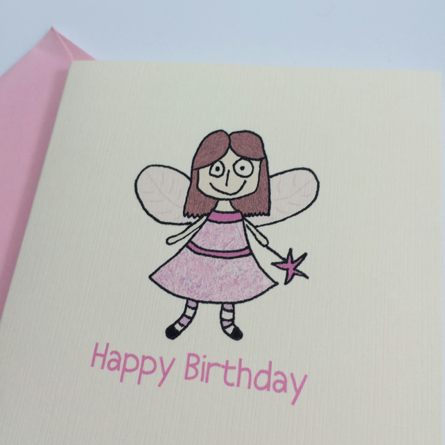 Pink Fairy Birthday Card