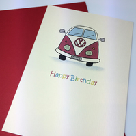 Red Happy Birthday Camper Van Card