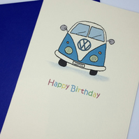 Blue Happy Birthday Camper Van card