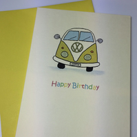 Yellow Happy Birthday Camper Van Greeting Card
