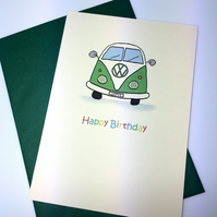 Green Happy Birthday Camper Van Greeting Card