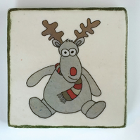 Ceramic Reindeer Coaster