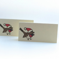 Christmas Robin Place Cards - Pack of 12