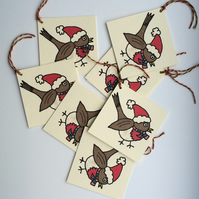 Christmas Robin Gift Tags - Pack of 8