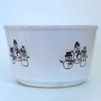 Ceramic Snowmen Snack Bowl