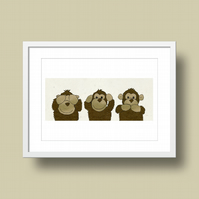 Three Wise Monkeys Illustration Print