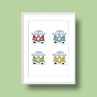 Camper Vans Illustration Print