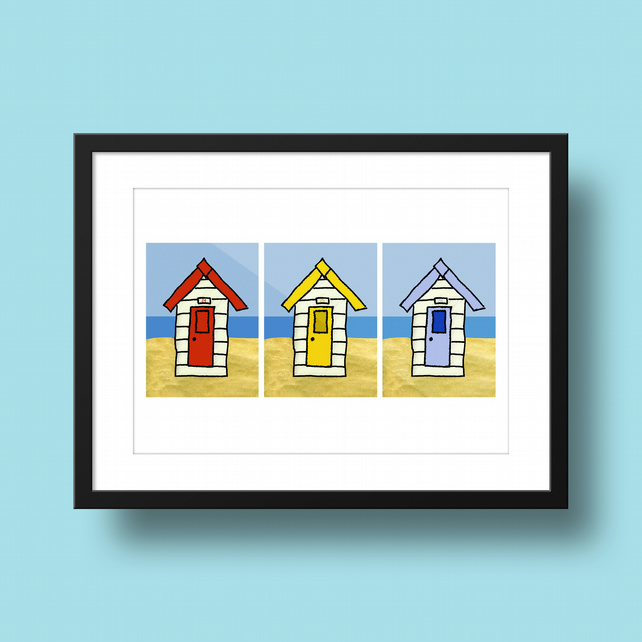 Beach Huts Illustration Print