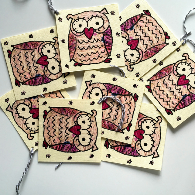 Pink Owl Gift Tags