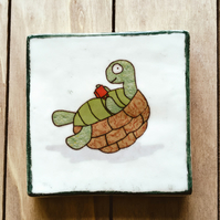 Turtle Drinking Tea Coaster