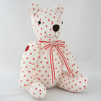 Red stars vintage fabric teddy bear