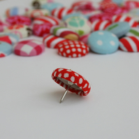 Fabric covered drawing pins/push pins - pack of 5