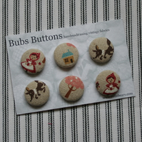 Fabric covered buttons - Red Riding Hood