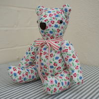 "Red white & blue vintage fabric ""one-off"" teddy bear"